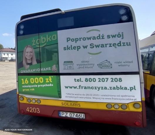 Swarzędz - reklama fullback na autobusach komunikacji miejskiej